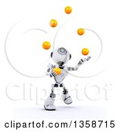 Clipart Of A 3d Futuristic Robot Juggling Balls On A Shaded White Background Royalty Free Illustration