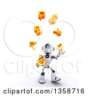 Clipart Of A 3d Futuristic Robot Juggling Currency Symbols On A Shaded White Background Royalty Free Illustration