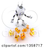 Clipart Of A 3d Futuristic Robot Juggler Dropping Currency Symbols On A Shaded White Background Royalty Free Illustration