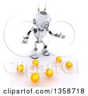 Clipart Of A 3d Futuristic Robot Juggler Dropping Balls On A Shaded White Background Royalty Free Illustration