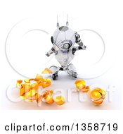 Clipart Of A 3d Futuristic Robot Juggler Dropping And Breaking Balls On A Shaded White Background Royalty Free Illustration