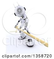 Clipart Of A 3d Futuristic Robot Pulling A Rope In A Game Of Tug Of War On A Shaded White Background Royalty Free Illustration