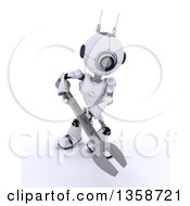 Clipart Of A 3d Futuristic Robot Using A Giant Wrench On A Shaded White Background Royalty Free Illustration