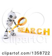 Clipart Of A 3d Futuristic Robot Using A Magnifying Glass To Search On A Shaded White Background Royalty Free Illustration