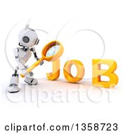Clipart Of A 3d Futuristic Robot Using A Magnifying Glass To Search For A Job On A Shaded White Background Royalty Free Illustration