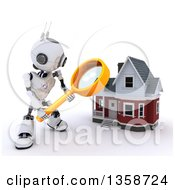 Clipart Of A 3d Futuristic Robot Using A Magnifying Glass To Search For A House On A Shaded White Background Royalty Free Illustration