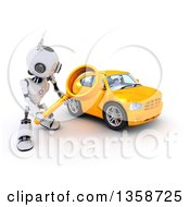Clipart Of A 3d Futuristic Robot Using A Magnifying Glass To Search For A Car On A Shaded White Background Royalty Free Illustration