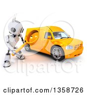Clipart Of A 3d Futuristic Robot Using A Magnifying Glass To Search For A Van On A Shaded White Background Royalty Free Illustration