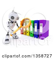 Clipart Of A 3d Futuristic Robot Using A Magnifying Glass To Search Binder Archives On A Shaded White Background Royalty Free Illustration