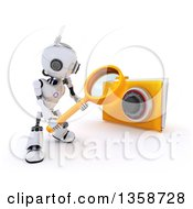 3d Futuristic Robot Using A Magnifying Glass To Search In A Locked File Folder On A Shaded White Background