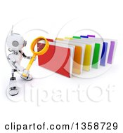 Clipart Of A 3d Futuristic Robot Using A Magnifying Glass To Search Colorful File Folders On A Shaded White Background Royalty Free Illustration