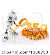 Clipart Of A 3d Futuristic Robot Using A Magnifying Glass To Search Online On A Shaded White Background Royalty Free Illustration
