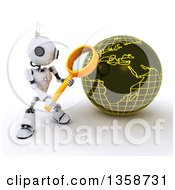 Clipart Of A 3d Futuristic Robot Using A Magnifying Glass To Search A Globe On A Shaded White Background Royalty Free Illustration