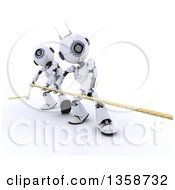 3d Futuristic Robots Working Together During A Tug Of War Competition On A Shaded White Background