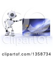 Clipart Of A 3d Futuristic Robot Leaning On A Giant Credit Card On A Shaded White Background Royalty Free Illustration by KJ Pargeter