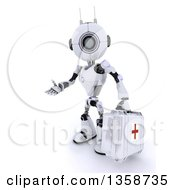 Clipart Of A 3d Futuristic Robot First Responder Paramedic Presenting And Holding A First Aid Kit On A Shaded White Background Royalty Free Illustration by KJ Pargeter