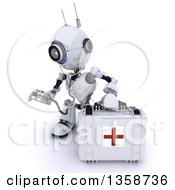 Clipart Of A 3d Futuristic Robot First Responder Paramedic Using A Stethoscope By A First Aid Kit On A Shaded White Background Royalty Free Illustration by KJ Pargeter