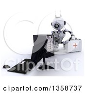 Poster, Art Print Of 3d Futuristic First Responder Repair Robot Using A Stethoscope On A Computer And Holding A First Aid Kit On A Shaded White Background