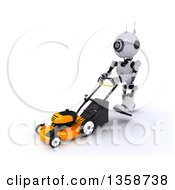 Clipart Of A 3d Futuristic Robot Pushing A Lawn Mower On A Shaded White Background Royalty Free Illustration by KJ Pargeter