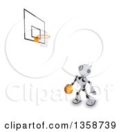 Clipart Of A 3d Futuristic Robot Playing Basketball On A Shaded White Background Royalty Free Illustration