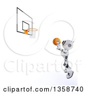 Clipart Of A 3d Futuristic Robot Shooting A Basketball On A Shaded White Background Royalty Free Illustration