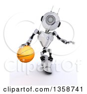 Clipart Of A 3d Futuristic Robot Dribbling A Basketball On A Shaded White Background Royalty Free Illustration