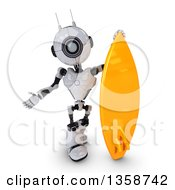 Clipart Of A 3d Futuristic Robot Presenting By A Surf Board On A Shaded White Background Royalty Free Illustration