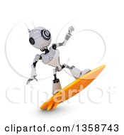 Clipart Of A 3d Futuristic Robot Surfing On A Shaded White Background Royalty Free Illustration