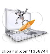 Clipart Of A 3d Futuristic Robot Surfing And Emerging From A Laptop Computer Screen On A Shaded White Background Royalty Free Illustration