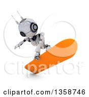 Clipart Of A 3d Futuristic Robot Snowboarding On A Shaded White Background Royalty Free Illustration by KJ Pargeter