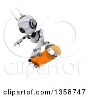 Clipart Of A 3d Futuristic Robot Jumping And Skateboarding On A Shaded White Background Royalty Free Illustration