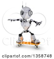 Clipart Of A 3d Futuristic Robot Skateboarding On A Shaded White Background Royalty Free Illustration