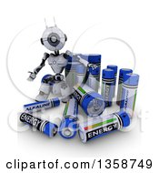 3d Futuristic Robot With Giant Batteries On A Shaded White Background
