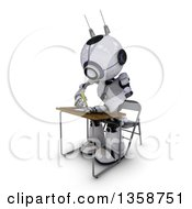 Clipart Of A 3d Futuristic Robot Student Writing At A Desk On A Shaded White Background Royalty Free Illustration by KJ Pargeter