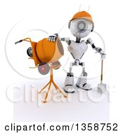 3d Futuristic Robot Construction Worker Standing By A Cement Mixer On A Shaded White Background