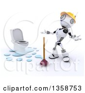 Clipart Of A 3d Futuristic Robot Plumber By A Leaking Toilet On A Shaded White Background Royalty Free Illustration by KJ Pargeter