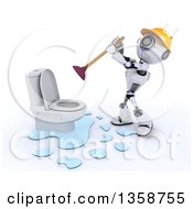 Clipart Of A 3d Futuristic Robot Plumber Working On A Leaking Toilet On A Shaded White Background Royalty Free Illustration by KJ Pargeter