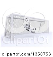 Clipart Of A 3d Futuristic Robot Soccer Goalie Blocking A Ball On A Shaded White Background Royalty Free Illustration
