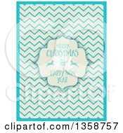 Clipart Of A Merry Christmas And Happy New Year Frame With A Snowflake And Deer Over A Retro Beige And Blue Chevron Pattern Royalty Free Vector Illustration by KJ Pargeter