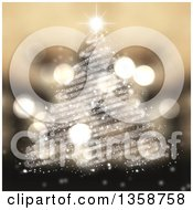Clipart Of A Christmas Tree Made Of Scribble Lined Sparkles With Flares Over Blur Royalty Free Illustration