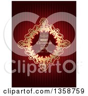 Clipart Of A Merry Christmas And A Happy New Year Golden Frame Over Red Stripes Royalty Free Vector Illustration by KJ Pargeter