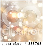 Clipart Of A Christmas Winter Background Of Snowflakes And Bokeh Flares Over Gold Royalty Free Illustration