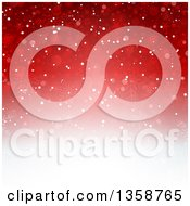 Clipart Of A Gradient Red To White Christmas Background Of Snowflakes Royalty Free Vector Illustration