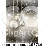 Clipart Of A 3d Suspended Christmas Baubles Over Snowflakes Flares And Stars Royalty Free Vector Illustration