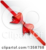 Clipart Of A 3d Diagonal Red Valentine Anniversary Christmas Or Birthday Gift Bow And Ribbon Over A Shaded White Background Royalty Free Vector Illustration