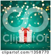 Clipart Of A 3d White And Red Christmas Gift Box Over A Green Background With Bokeh Lights And Snowflakes Royalty Free Illustration