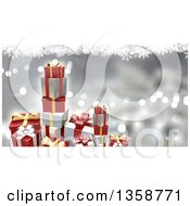 Clipart Of A 3d Stacks Of Christmas Gifts Over A Silver Background Of Bokeh Lights And Snowflakes Royalty Free Illustration