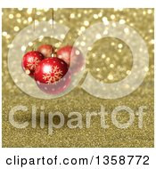 Clipart Of A Christmas Background Of 3d Red Snowflake Baubles Suspended Over Gold Glitter Royalty Free Illustration