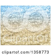 Clipart Of A Blue And Gold Glitter Christmas Background Royalty Free Illustration