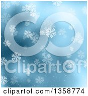Clipart Of A Christmas Winter Background Of Snowflakes Falling Over Blue Royalty Free Illustration by KJ Pargeter